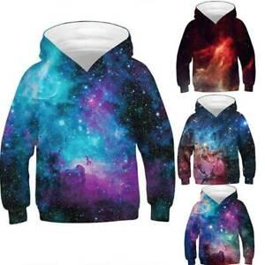 Kid Girl Boy Galaxy Hoodie Sweatshirt Pullover Jumper Jacket Casual Coat Tops