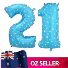"""Blue Foil Helium number 21 balloon -  40"""" inch 100cm Brithday Party AUS STOCK"""