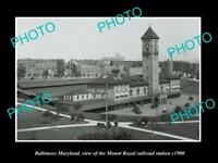 OLD LARGE HISTORIC PHOTO OF BALTIMORE MARYLAND, Mt ROYAL RAILROAD STATION c1900