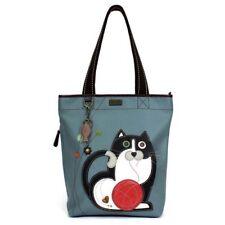 New Chala Everyday FAT CAT Zip Tote Bag Vegan Leather Blue Gray Grey gift bag