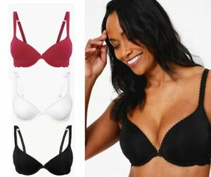 M/&S Bra Perfect Fit Padded Plunge Push Up With Lace Trim Wired Red RRP£25 NEW