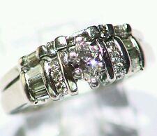 Platinum Natural Round Cut White Diamond Solitaire Engagement Wedding Ring Set