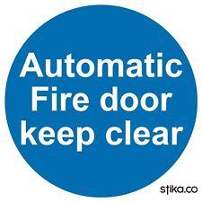 Automatic Fire Door Keep Clear Door Sign 100mm Vinyl Sticker Health & Safety