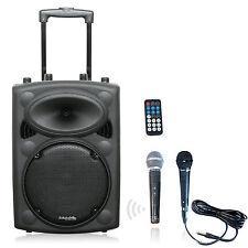 IBIZA Mobile Akku Sound Anlage PORT-10VHF Bluetooth USB MP3 SD Funkmikrofon 500W