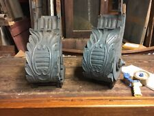"""c1850/60 pair hand carved corbel brackets roof eave elements 24x14x10"""" *AS IS*"""