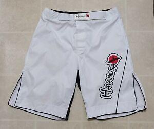 Hayabusa Men's 36 MMA Kickboxing Shorts Jiu Jitsu Fight Training White Muay Thai