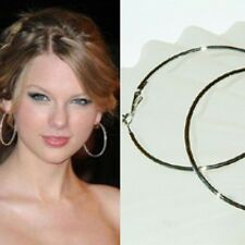 """2 1/2"""" Large 60mm ~Silver Plated HOOP~ Round Circle Hollywood Celebrity Earrings"""