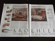 1926 Kroehler Davenport Beds & Living Rom Furniture 2 full page Advertisement