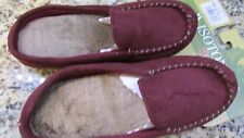 NEW ISOTONER GARNET FUR LINED SLIPPERS WOMENS M 6.5-7.5  MOCCASIN FREE SHIP