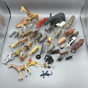 3 Lb Lot Of Animal Figures Farm Zoo Jungle Africa Safari Plastic Toys