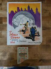 1936 World Series Ticket Stub & Program Unscored---Yankees v Giants---Game 4
