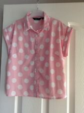 Girls Short Sleeved Shirt In Pink With White Spots Aged 12 Years From New Look
