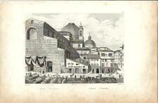 Stampa antica FIRENZE Basilica di San Lorenzo e mercato 1834 Old print Florence