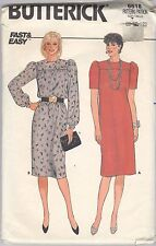 Fast & Easy 1980's Dress Pattern Butterick 6618 Cut To Misses Size 10