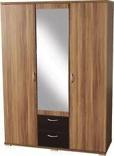 Hollywood 3 Door 2 Drawer Mirrored Wardrobe in Walnut Veneer Black Gloss Deal