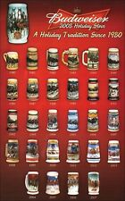 1980-2012 *BUDWEISER* Collectors Holiday Beer Stein Mug Set Collection never