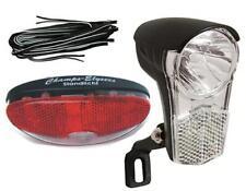 Fahrrad Beleuchtung Set LED Scheinwerfer, Rücklicht & Kabel für Nabendynamo