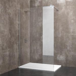 Box doccia parete porta cabina bagno walk in cristallo temperato 8 mm alluminio