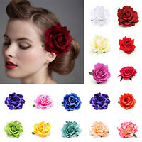 Elegant Big Blooming Rose Flower Wedding Bridal Hair Clip headpiece Brooch Pin