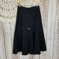 Vintage Womens Size 8 Western Rodeo Circle T By Mary Lenox Black  Midi Skirt