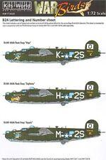 KITS-WORLD 1/72 Consolidated B-24 Liberator numérotation & Lettrage ID Set # 72020