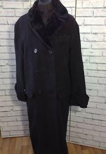 Quality Long Elegant Faux Fur Collar Coat Black Jigsaw Merino Wool Size UK 10