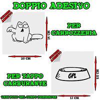 2x Sticker Adesivo Decal Gatto Ciotola Gpl Rifornimento Tappo Auto