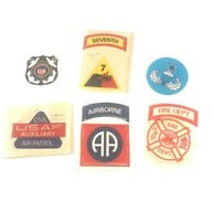 1972 Fleer Real Cloth Patches Lot 6 Military 82nd Airborne 7th Armored Fire Dept