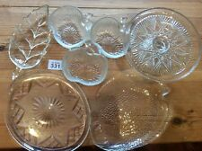 Job Lot Of 7 Art Pressed Glass Bowls Dishes Plates Cake Stand Vintage Retro