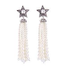 Hot Fashion Silver Crystal Star Pearl Tassels Long Earrings