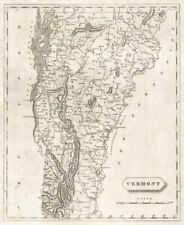 Vermont state map by Arrowsmith & Lewis 1812 old antique plan chart