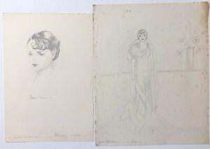 Vintage 2 Original Sketch Art Pencil Drawing Woman Benita Hume Signed Sylvia 34