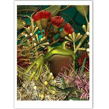 © ART Green Tree Frog Animal Aussie Native Flowers Original Artist Print by Di