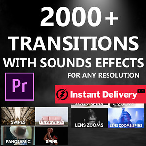 Video Transitions For Premiere Pro Swipes/Glitches/Cinematic Presets 4K Elements