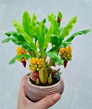 Miniature Handmade Banana Trees Artificial Fruit Home Decorate Green Clay Art