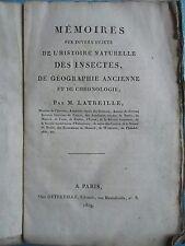 LATREILLE : MEMOIRES HISTOIRE NATURELLE DES INSECTES, EGYPTE, ATLANTIDE, 1819.
