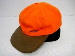 Vtg CC FILSON Blaze Orange w/Green Wool Ear Flaps Insulated Hunting Cap Size XL