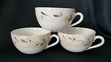 "Set Of 3 Crate And Barrel Capuccino/Coffee Mugs, Heather Design, 4 3/4"" Diameter"