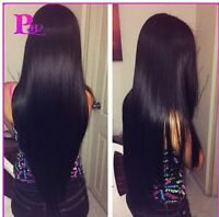 Indian  Lace Front/Full Lace  wigs human Remy Hair silky straight Middle part