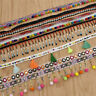 2 Yards Bohemian Beads Lace Patchwork Ribbon Pompom Trim Fringe Sewing Supplies