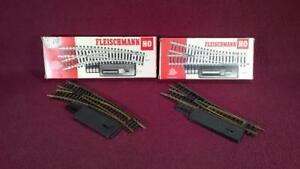 HO FLEISCHMANN 6041/6042 RIGHT & LEFT SWITCH TRACK - NEED ADJUSTMENT - ORIG BOX