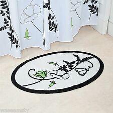 Elegant Black White Floral Green Flower Nonskid Bath Rug Oval Mat Decor