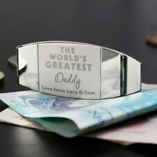 Personalised Engraved World's Greatest Money Clip Gift for Men Fathers Day