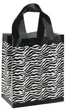 Plastic Shopping Bags Zebra Frosted Gift Merchandise Retail Store 8x5x10 Lot 20