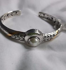 925 sterling silver  cuff bracelet gold inlaid and MOP