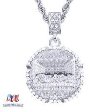 "Men's Silver Tone Icy Last Supper Medallion Pendant 24"" Chain Necklace HC 1082 S"