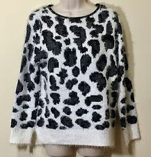 New Women Long Sleeve Faux Fur Casual Sweater Size Small Petite SP NWT