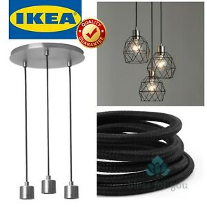 IKEA SKAFTET Nickel-Plated Pendant Lamp Triple Cord Set with Ceiling Mount