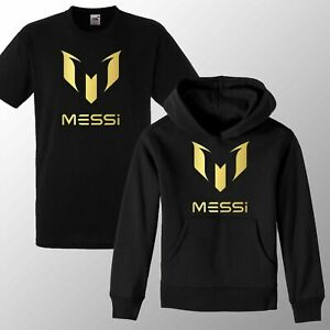 New Kids #10 Messi Hoodie T Shirt Soccer Gold Print Football Ronaldo Hoody Tee