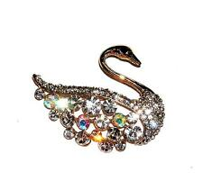 BROOCH/PIN GT Lots Of Clear & AB Iridescent Rhinestones Bird GORGEOUS SWAN